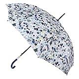 VOGUE- Paraguas Mujer. Paraguas Largo Elegante y Exclusivo confeccionado con Tejido Pongee y Cire. Paraguas con Proteccion UV, Wind Proff y Automático. Puño con Acabado metalico. (Azul)