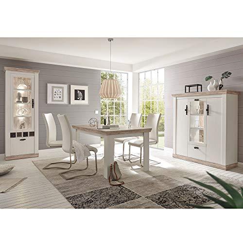 Lomadox Esszimmer-Set im Landhaus Stil Pinie weiß, Oslo Pinie dunkel, Esstisch, Sideboard und Standvitrine