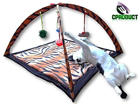 a cat activity center with 4 hanging toys and a sweet bengal colored mat
