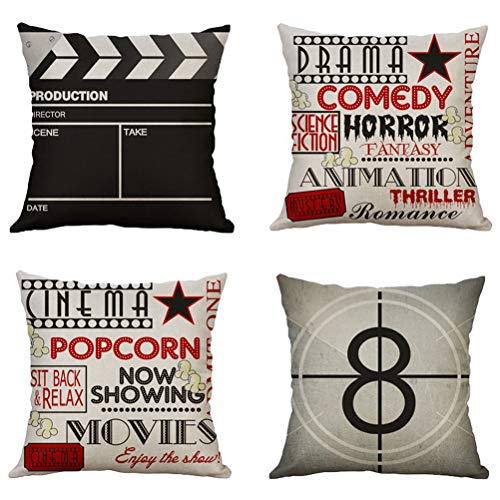 Leful 4 pcs Movie Pattern Pillow Cases, Sunshine Cushion Covers Throw Pillow Case Cotton Linen Pillowcase Flowers Pattern Covers Cases Home Decoration,18x18 Inches ASIN:B0824SJCMG