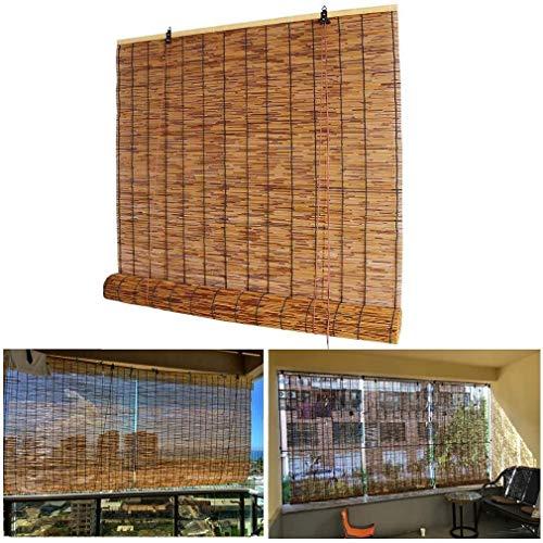 ZDDY Persianas enrollables de bambú Natural-Persianas enrollables de caña-Cortinas de Ventana Romanas con elevación, Parasol/Impermeable/Aislamiento térmico, para Exteriores, Interiores, Patio.