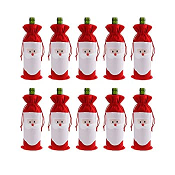 CUSFULL 10Pcs Santa Claus Christmas Drawstring Red Wine Bottle Cover Bags Home Party Decoration Dinner Party Table Decor Xmas Gift
