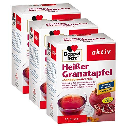 Doppelherz Heißer Granatapfel mit Vitamin C – Zur Unterstützung der normalen Funktion des Immunsystems – Plus Sanddorn und Acerola – 3 x 10 Beutel