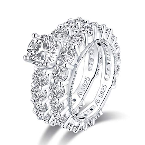 N \ A Juego de Anillos de Diamantes simulados de Sona, Juego de Anillos de Plata de Ley 925 con Incrustaciones de Diamantes, Anillo de Compromiso