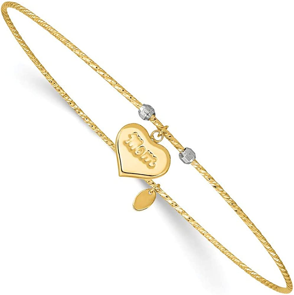 Solid 14k Yellow Gold Diamond-Cut Heart Mom Bangle Cuff Bracelet 8.1