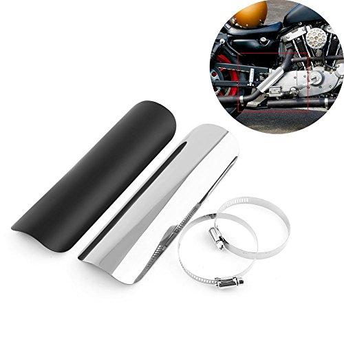 Universal Motocicleta Escape Silenciador Tubo Escudo térmico Cubierta de aislamiento térmico Aislamiento del talón Llama Staight Escudo térmico Cubierta protectora(Negro)