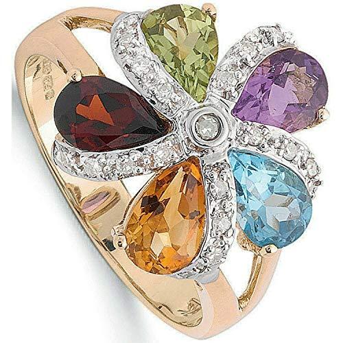 Diamond Multi Gemstone Ring Yellow Gold Garnet Topaz Citrine Amethyst Peridot - Size: L