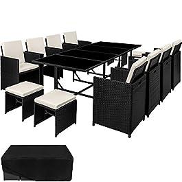 TecTake Ensemble Salon de jardin en Résine Tressée Poly Rotin Table Set 8+1+4 + Housse de Protection | Vis en Acier…