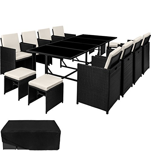 TecTake 800600 – Rattan Garden Dining Set 8+4 Seats + 1 Table incl. Protection Slipcover, Stainless Steel Screws (Black | No. 402831)