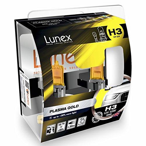 LUNEX H3 PLASMA GOLD Ampoules Halogenes Phare Jaunes 453 12V 55W PK22s 2800K duobox (2 pièces)