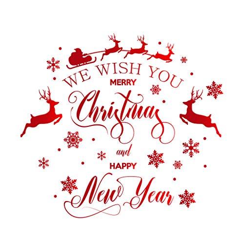 Harpily Weihnachtsbaum Merry Christmas Elch Aufkleber Fensterbild Elch Weihnachten Winter Urlaub Dekoration Statische PVC Wandaufkleber Fenster Aufkleber Dekor Haus Und GeschäFt