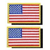 【Za-Bi (ザ-ビ) 】刺繍 縫い付け べルクロ ワッペン アップリケ アメリカ国旗 2枚