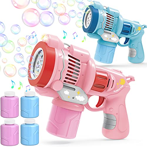 Bubble Machine Gun for Kids, 2 Bubble Guns & 4 Bubble Solutions(11.3 oz Total), Auto Bubble Maker with Music and Light, Portable Bubble Blower Bubble Toys for Girls Boys Birthday Party Outdoor Indoor