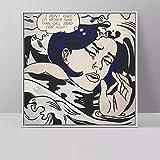 YRZYT Roy Lichtenstein Poster Llorando Chica Pared Arte Comic Gato Poster Vintage Pop Arte Lienzo Cuadros Roy Lichtenstein Famosos Pinturas NiñOs Sala Dormitorio Decoracion