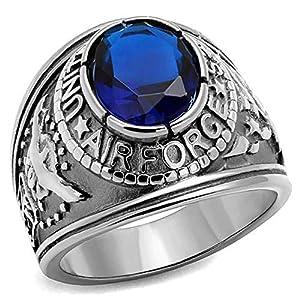 ISADY - US Air Force Saphir Edelstahl - Herren-Ring - Edelstahl - Zirkonium Blau