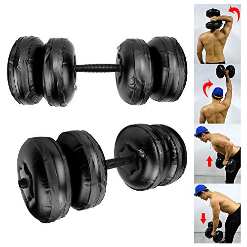 Alomejor Wassergefüllte Hantel 16-20KG Gewichtsverstellbare Hantel für Fitness Arm Muskeltraining Bodybuilding Travel Hanteln Set(Black)