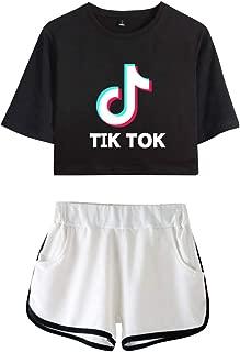 Camiseta y Pantalones Cortos Set TIK TOK Impresa Crop Top T-