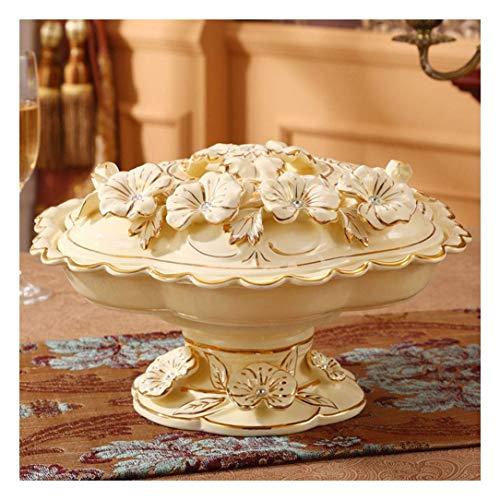 Placa de fruta de cerámica Europea Placa de fruta de la fruta secada Compartimento de placa con tapa Caja de placa de caramelo Inicio (Color: C-sin plato) ( Color : C-without Platter , Size : - )