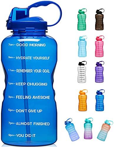 Yidieman Botella de Agua Deportiva,Botella de Agua Grande para Exteriores con Pajita-Blue_2000ml,Botella de Agua Tritan a Prueba de Fugas sin BPA Botellas Deportivas