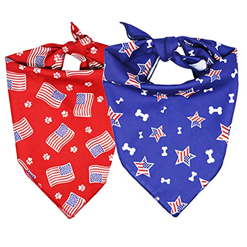 RJWKAZ 2 Pcs Soft Dog Bandanas Dog Scarf Bibs Pet Bandanas Printing Dog Kerchief Accessories for Medium Dogs or Large Dogs, Christmas, Valentines, National Days & Any Occasions (Red+Blue)