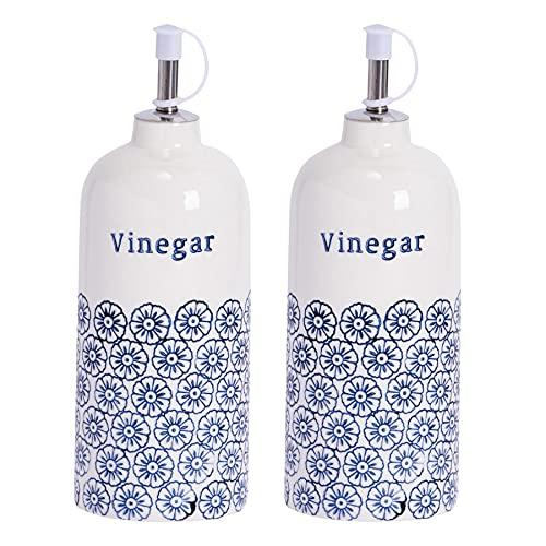 Nicola Spring Bouteilles à vinaigre en Porcelaine - avec Bec verseur/500 ML - Motif Floral Bleu - Lot de 2