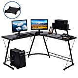 Nidouillet L Shaped Desk, 50.8' Corner Computer Desk, Modern Home Office Desk with Large Monitor Shelf and CPU Stand, PC Table Workstation, Gaming Desk, Easy to Assemble, Space Saving AB199
