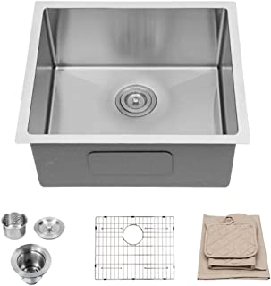 Lordear 21 Inch Undermount Deep Single Bowl 16 Gauge R10 Tight Radius Stainless Steel Kitchen Sink