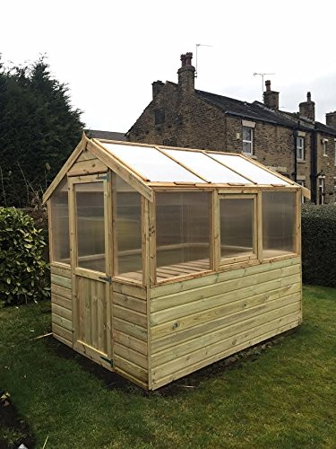 Pinelap 6x6 Wooden Greenhouse Tanalised T&G Shiplap With Glazing.