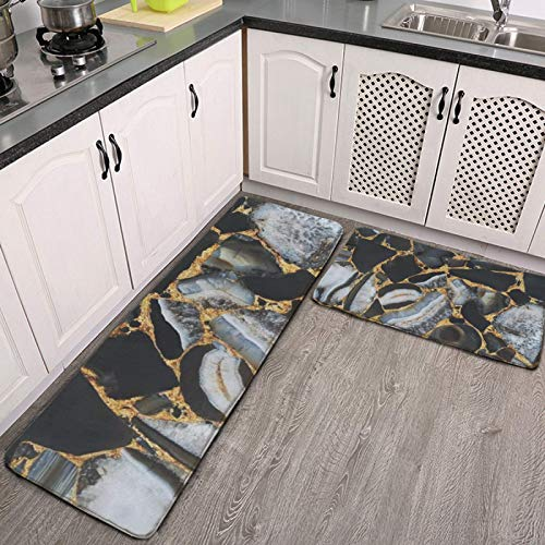 Kitchen Mat Set of 2 Black Gray Gold Chic Marble Striped Anti Fatigue Waterproof Cushioned Soft Kitchen Rugs Non-Slip Comfort Floor Mats Washable Doormat Bathroom Runner Area Rug Carpet