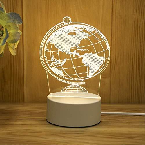 Preisvergleich Produktbild YeDeng 3D Warm Dreidimensionale Nachtlicht Noten-Schalter Visuelle Stereo Tischlampe Augenschutz Bett Kleine Verzierungen LED Energiespar Projektions-Licht-Geschenk,  Weihnachten (Color : Earth)