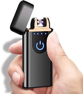 Veksun Electric Lighter, USB Rechargeable Double Arc Flameless Windproof Plasma Lighter Cool Lighter for Camping, Hunting, Backpacking,Hiking,Firestarter,Survival,EDCetc (Black) …