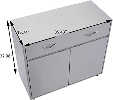 Office Side Cabinet,2 Doors File Cabinet Storage with Round and Smooth Corner (2 Doors, Light Gray)