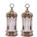 Linternas Decorativas, 2PACK Linterna Colgante vintage,para interiores y exteriores, eventos, fiestas y bodas (oro)