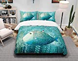 Duvet Cover Bed Linen Set Double Zipper Closure Cotton Duvet Cover 3D Digital Print Bedding Set with 2 Pillowcases Soft Reversible Microfibre 3 Pieces Quilt Cover Green Fish