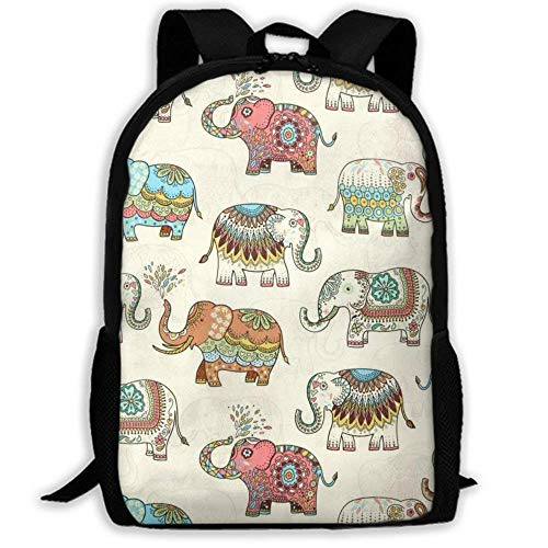 XCNGG Mochila de impresión de fotograma completo para adultos Mochila informal Mochila Mochila escolar NiYoung Travel Backpack Laptop Backpack Large Diaper Bag - Timeless Treasures Embellished Elephan