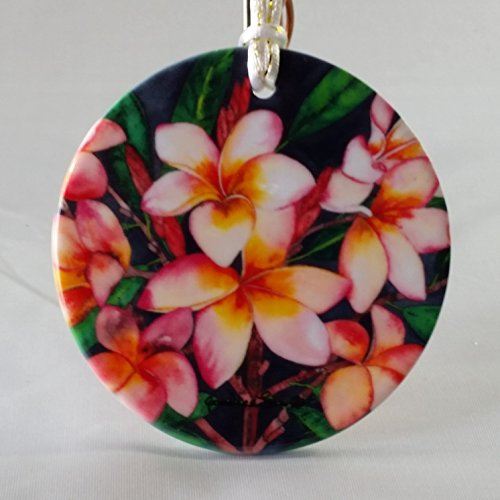 """Porcelain Christmas Ornament, Flower - """"Plumeria"""" Artwork by Candace Lee. Made in Hawaii. Printed on Both Sides."""