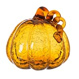 Glitzhome Hand Blown Amber Crackle Glass Pumpkin for Fall and Home Decor 6.69 inches