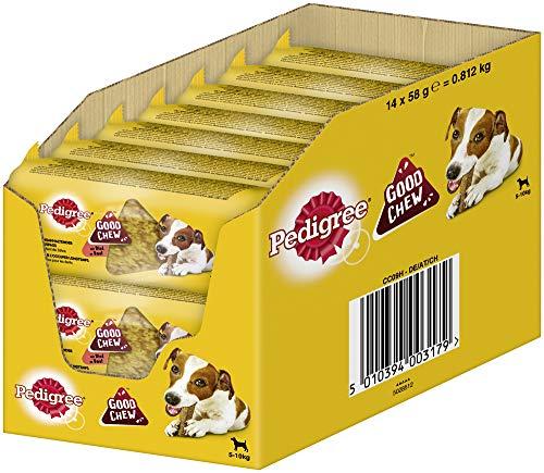 PEDIGREE Hundesnacks Good Chew Mini Kausnack für kleine Hunde <10kg mit Rind, 14 Stück, 812 g
