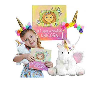 Unicorn Gift Set – Includes Book Stuffed Plush Toy and Headband for Girls - If I were A Magical Unicorn – Great for Birthday Christmas Imaginative Play