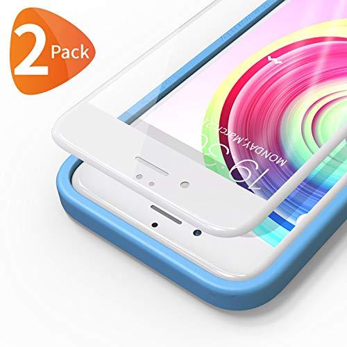Bewahly Panzerglas Schutzfolie für iPhone 6s / 6 [2 Stück], 3D Full Screen Panzerglasfolie 9H Härte Displayschutzfolie mit Installation Werkzeug für iPhone 6s / iPhone 6 (4,7 Zoll) - weiß