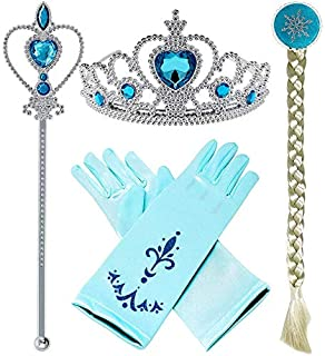 4 Pcs set Frozen Elsa Cosplay Tiara girl Hair Accessories set Crown Wig Wand and Gloves