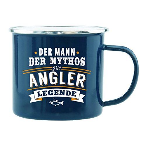 History & Heraldry Echter Kerl Emaille Becher, Angler, Mehrfarbig