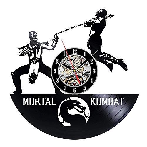 qweqweq Chinese Martial Arts Vinyl Record Wall Clock Modern Design Dragon 3D Sticker Movie Theme Retro Wall Clock CD Clock Home Decoration