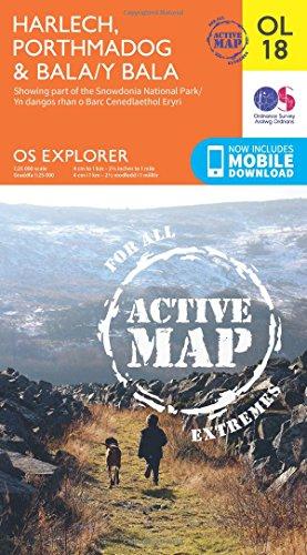 OS Explorer ACTIVE OL18 Harlech Porthmadog BalaY Bala OS Explorer Map