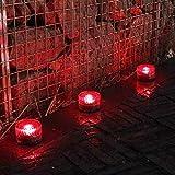 HY-WWK Luz de Suelo Redonda Luz Roja Ladrillo de Hielo Lámpara de Pie Enterrada Jardín Solar Patio Césped Iluminación Decorativa 10 Piezas Rojo