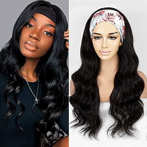 Body Wave Headband Wigs for Black Women Andromeda Synthetic Long Wavy Headband Wig Natural Black Glueless Heat Resistant Headband wigs Comfortable Cap Beginner Friendly Wigs (24)
