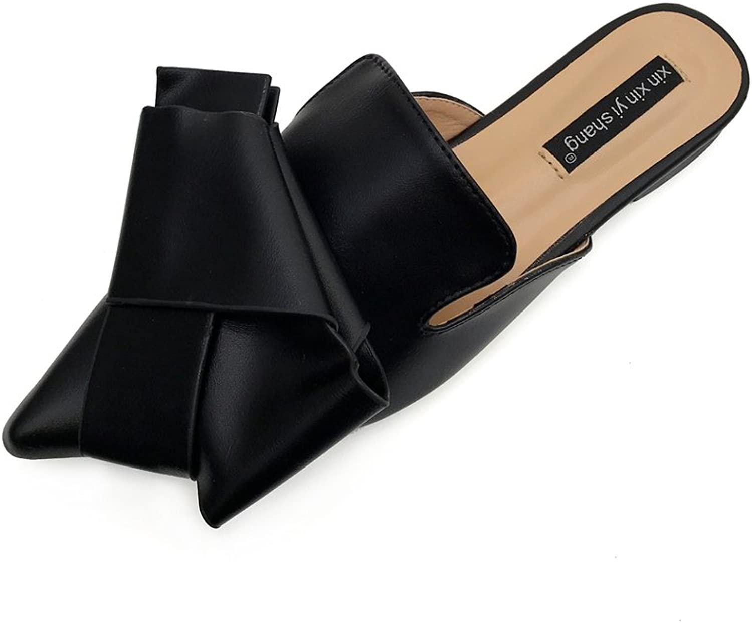Pit4tk Summer Sexy Hallow Point Toe Woman Flat Slippers Slip On Lady Leather Slides Loafers Mules