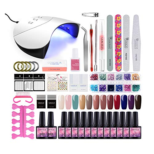 Saint-Acior Gel Nail Starter Kit Nail Salon Kit Nail Art Lamp Kit 12 Colors...