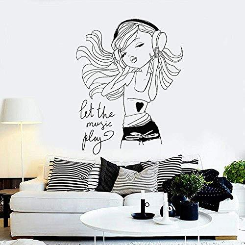 Chica Disfruta Música Pegatinas De Pared Auriculares De Vinilo Juvenil Niñas Dormitorio Decoración De La Habitación Personaje De Dibujos Animados Etiqueta Extraíble 42X53 Cm