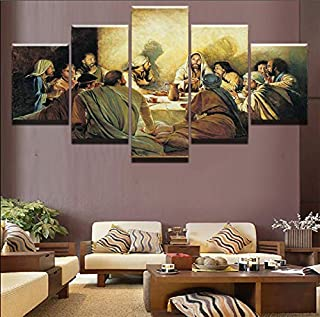 FUZI00 5 Piece Wall Art Canvas Prints Wall Art Canvas Painting Family Decoration Poster Jesus Abstract Painting Last Dinner Picture Modern HD Printing 31.5X59 Inch